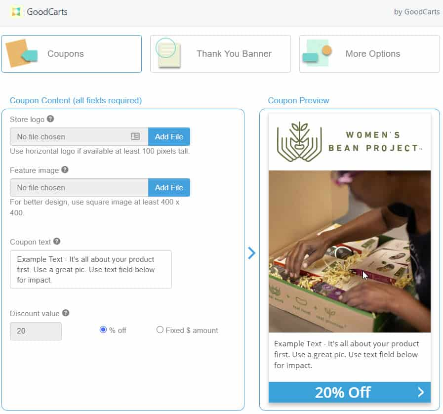 Example Coupon Editing via GoodCarts Shopify App Dashboard