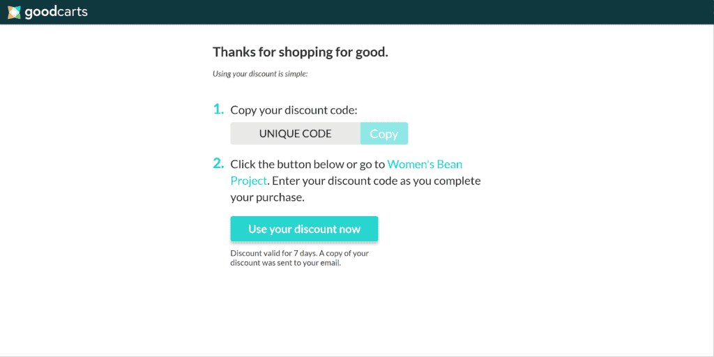 coupon code thank you message from GoodCarts app