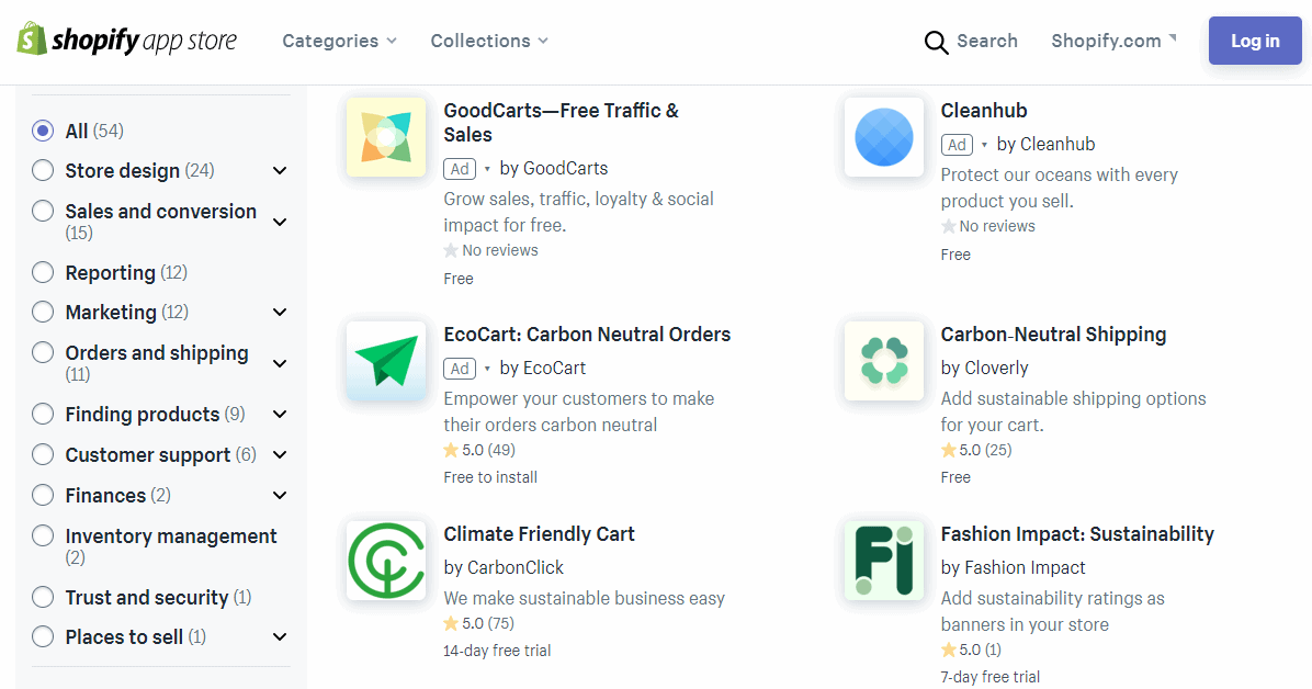 Screenshot: Shopify Sustainability Apps